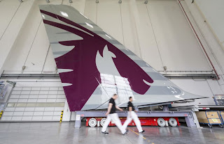 Vertical tail section for the first Qatar Airways A380