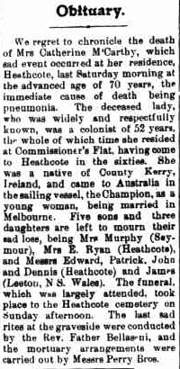 obituary we regret to chronicle the death of mrs catherine m carthy