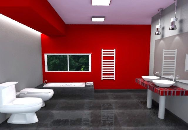 Juegos De Baño Rojos:Diseñar baños modernos y coloridos de estilo minimalista