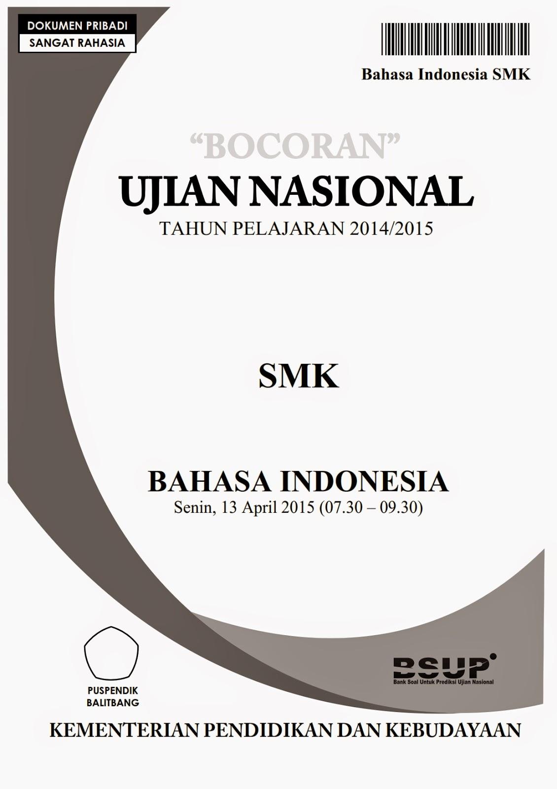Bocoran Soal Un Bahasa Indonesia Smk 2015
