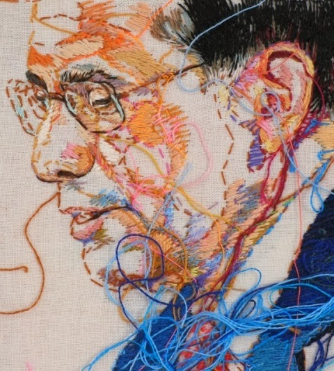 """Sewnnews - Aug 2007 New York Times"" detail embroidery art by Lauren DiCioccio"