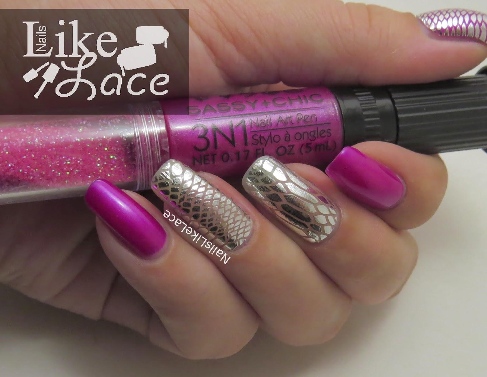 Nailslikelace 2 Manicure Pink Polish With Snakeskin Wraps