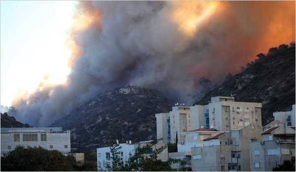 Spontaneous combustion: Fires turn northern Israel into an inferno as temperatures hit 40C (105F)