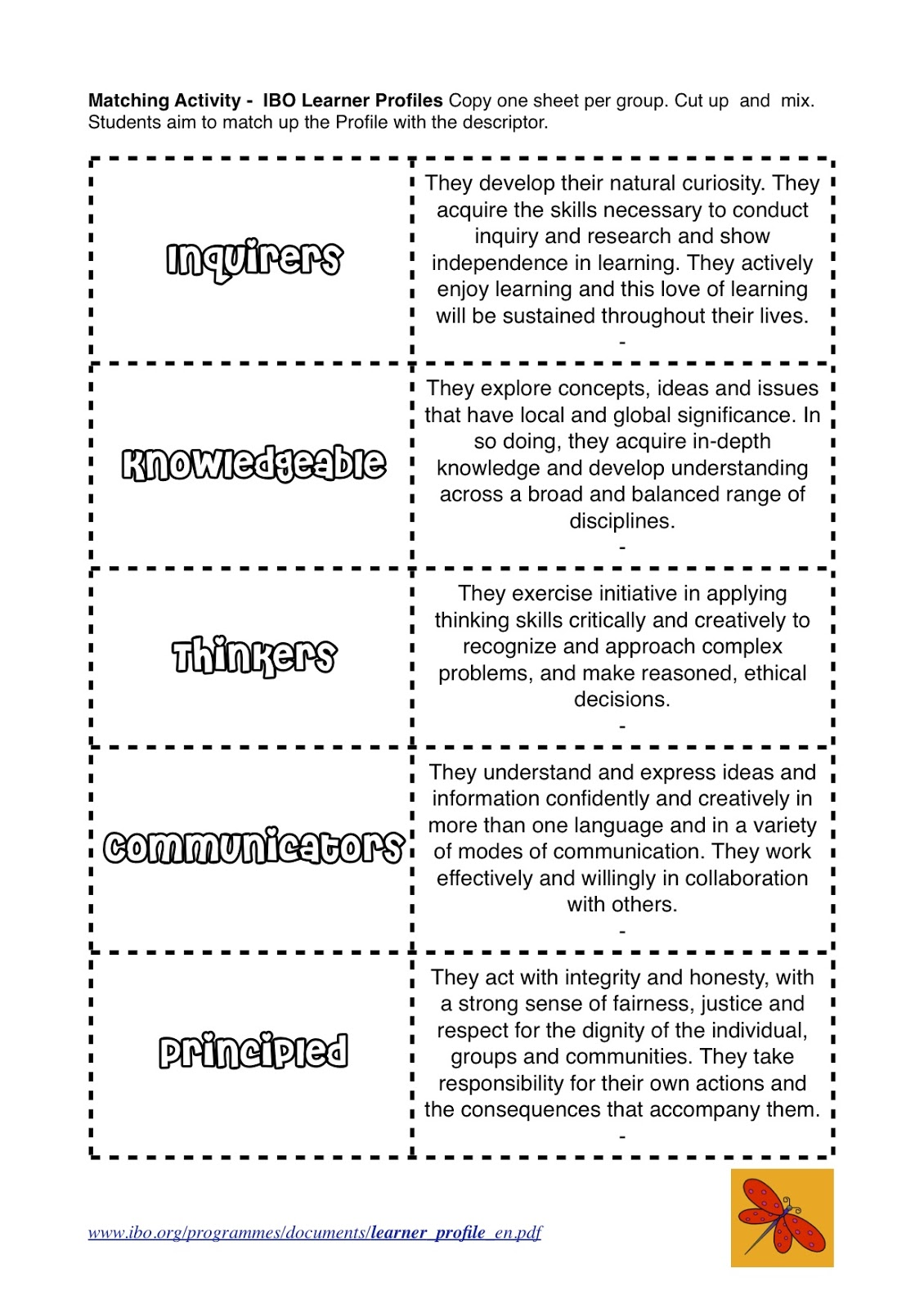 The Learner Profiles on Cutting Worksheets