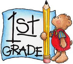 a teddy bear holding a pencil and a sign in the background that says first graders