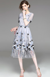 2018 Short Sleeve Flowery Lace Dress