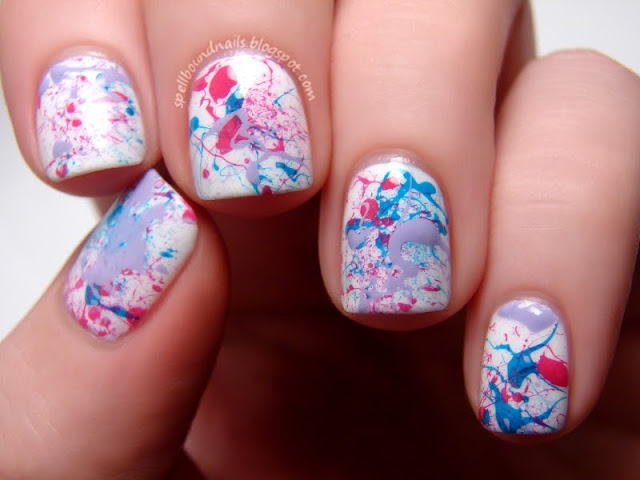 nail art Sally Hansen Splatter Spellbound Nails Fuchsia Power Lacey Lilac Blue Me Away