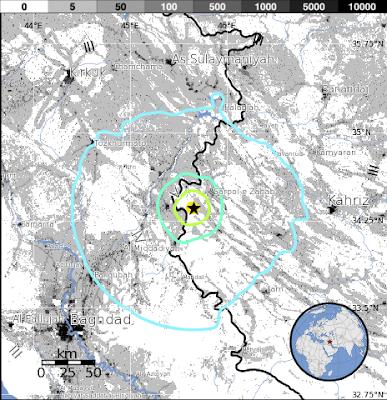 Epicentro sismo en frontera Iran-Irak, el 22 de Noviembre 2013