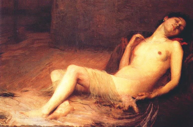 pintura de nu deitado