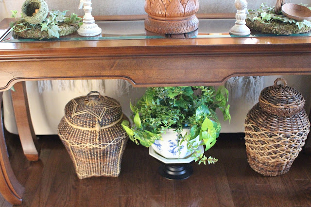 Designs by pinky decorating with baskets for Sofa table for plants