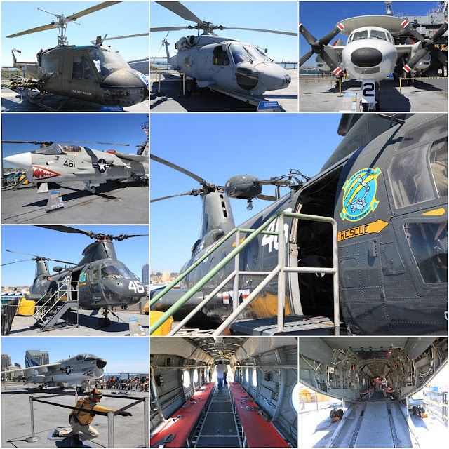 More rescue helicopters can be seen at the flight deck at the USS Midway Museum in San Diego, California, USA