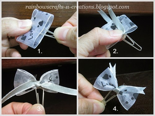 make a desired loop with a piece of wide ribbon and put the paper clip at the centre of the ribbon loop