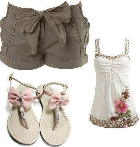 Grey shorts, white blouse and white sandals for ladies