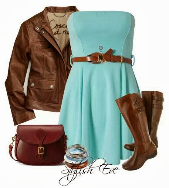 Brown jacket, blue dress, long boots and hand bag for fall