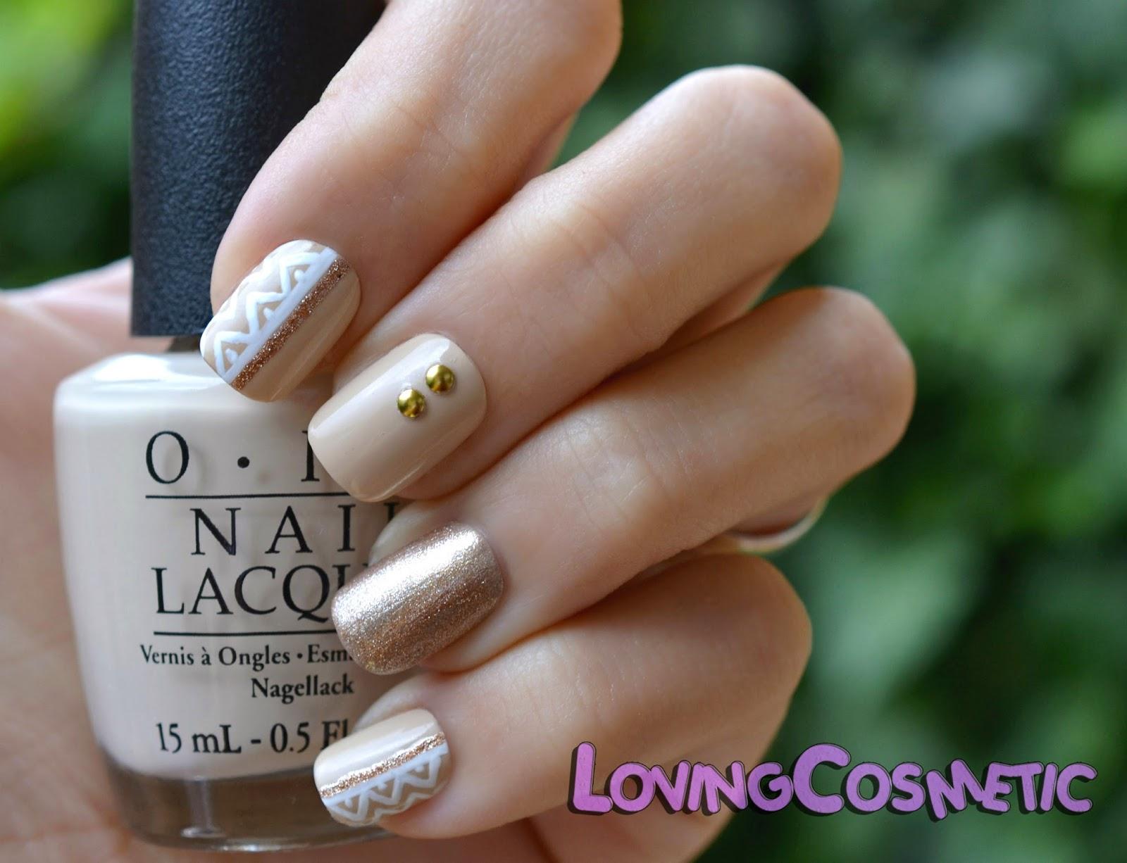 OPI Nail Art Vain-illa Vainilla Uñas diseño de uñas dorado navidad cute fino elegante easy facil nail art