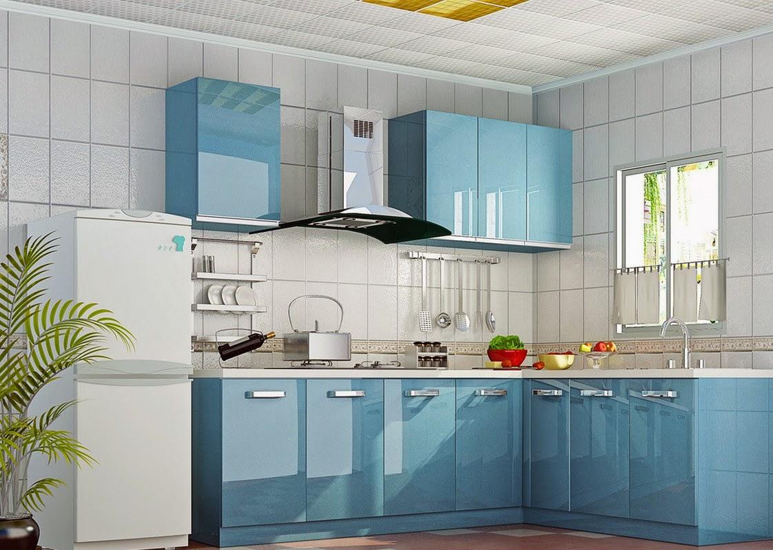 desain warna cat dapur biru kombinasi putih