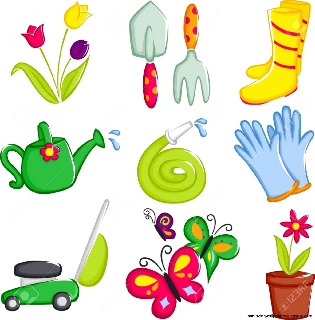 Spring Gardening Clip Art   gardening tools stock illustrations