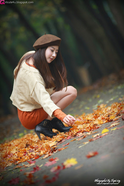 Park-Hyun-Sun-Autumn-Orange-Dress-04-very cute asian girl-girlcute4u.blogspot.com
