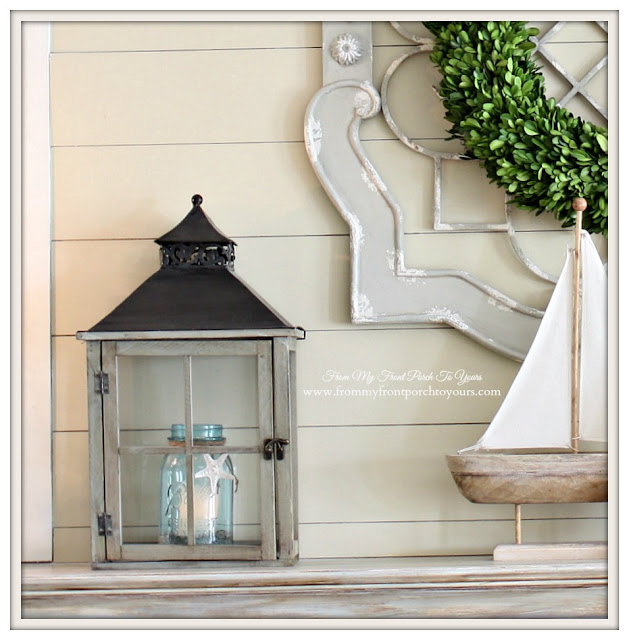 Simple Nautical Fireplace Mantel Display-Lanterns-Blue Mason Jars- From My Front Porch To Yours