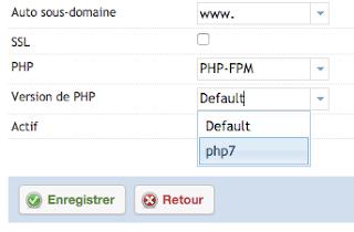 Activation de php 7 pour un nom de domaine dans ispconfig