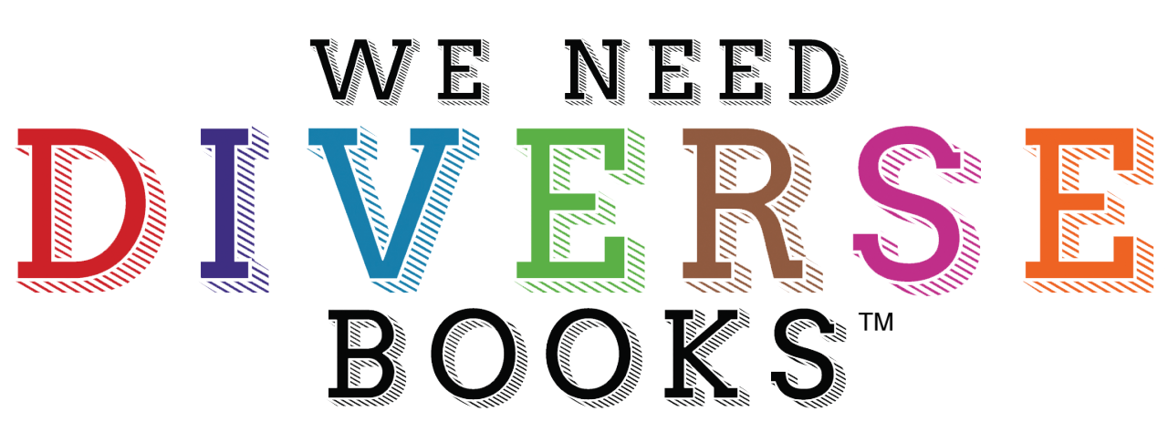 Logo: We Need Diverse Books, centered, as three lines of text. On the middle line, each letter in the word 'Diverse' is printed with a different colored letter: Red, dark blue, teal blue, light green, brown, burgundy and orange.