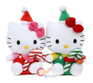 Hello Kitty candy cane plush soft toy for Christmas