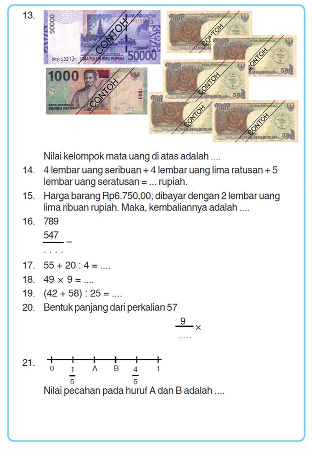 Kumpulan Soal Matematika Soal Ulangan Umum Matematika Semester 2 Kelas 3 Sd