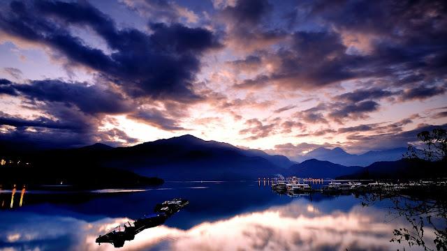 Harbor at Night Sea Ship Sunset Mountains HD Wallpaper