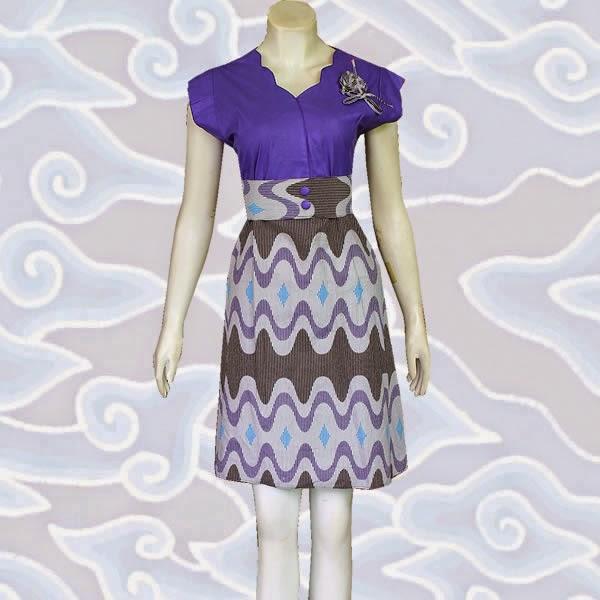 model dress batik kombinasi polos