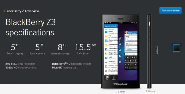"""BlackBerry finalmente ha publicado el BlackBerry """"Yakarta"""" Z3 en su sitio oficial con la pre-venta para los usuarios de las operadoras Indosat y XL Axiata de Indonesia, dispositivo que tendrá un precio muy económico y ejecuta el sistema operativo BlackBerry 10. Comunicado de prensa: YAKARTA, INDONESIA – BlackBerry anunció hoy que los clientes de Indonesia ya pueden pre-ordenar el teléfono inteligente BlackBerry Z3 través de los principales operadores de telecomunicaciones en Indonesia, Indosat y XL. BlackBerry espera lanzar el dispositivo a un precio de 2.199.000 IDR. La inauguración oficial de BlackBerry Z3 está previsto que tenga lugar en Yakarta el"""