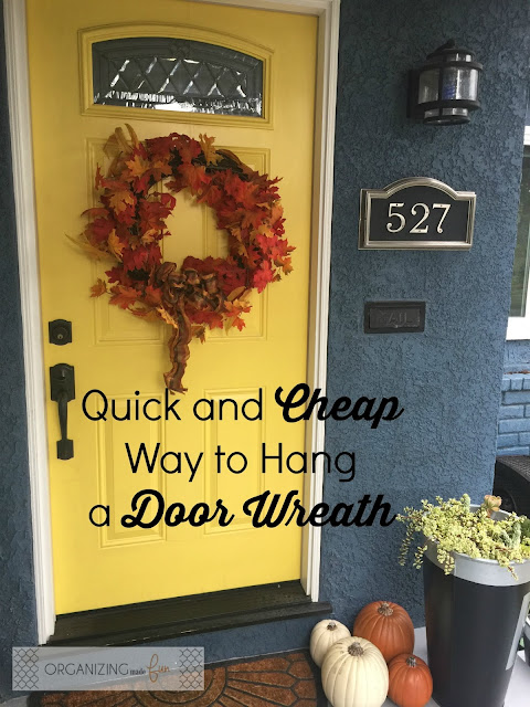 Quick and CHEAP way to hang a door wreath :: OrganizingMadeFun.com