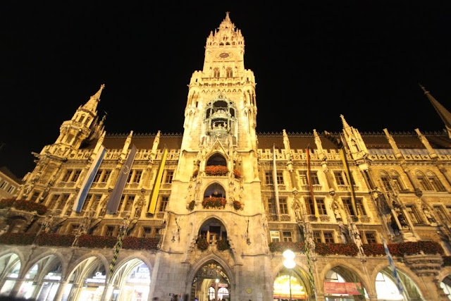 The main view of the New Town Hall at St Mary Square, Marienplatz in Munich, Germany