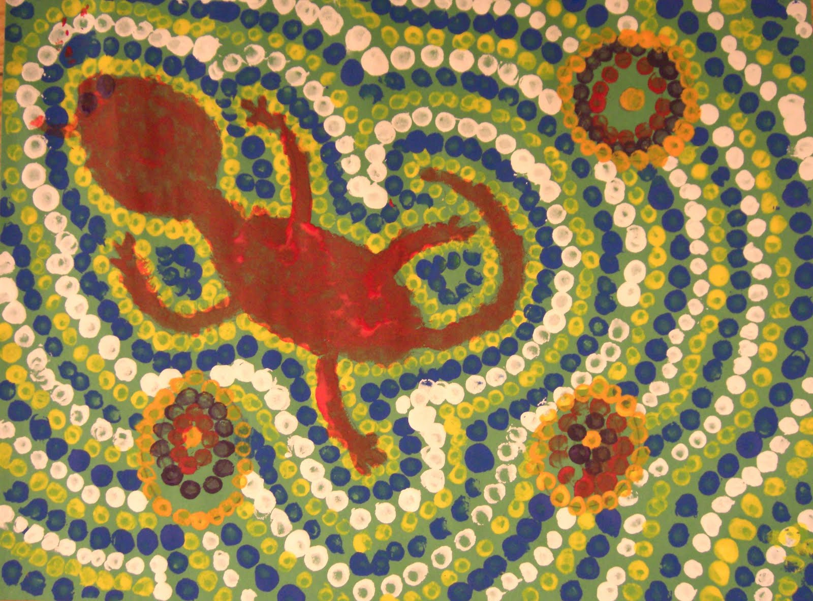 Aboriginal Dot Paintings Animals http://questartists.blogspot.com/2011/03/le-aboriginal-dot-painting.html