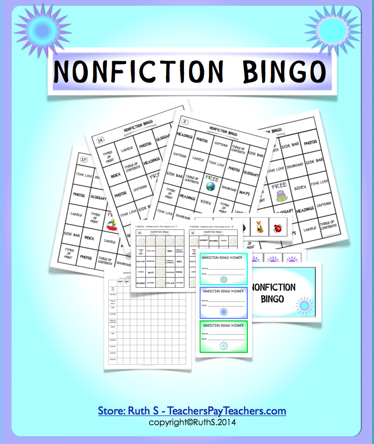 photo of NonFiction Text Features, nonfiction, text features, Ruth S. TeachersPayTeachers.com