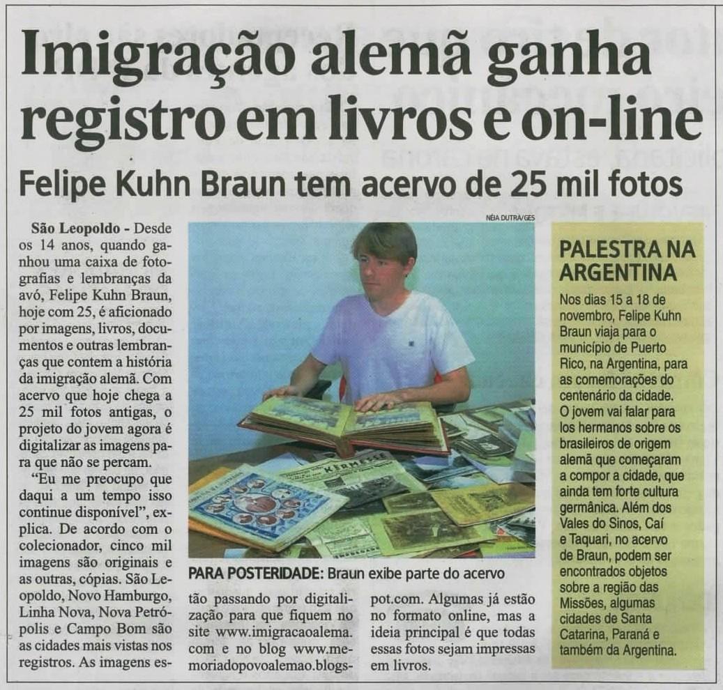 Imigração alemã ganha registro em livros e on-line - Felipe Kuhn Braun