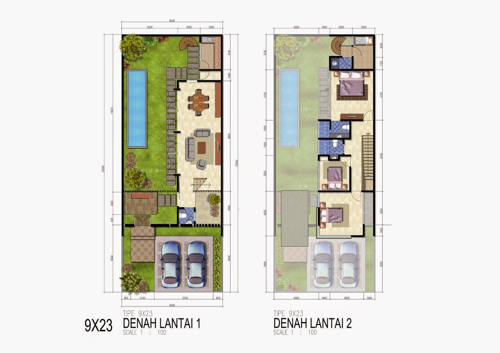 Denah Kolam Renang Rumah 2 Lantai Modern