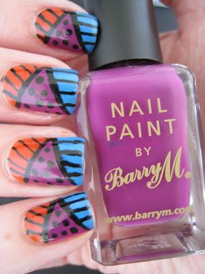 Orange-blue-purple-tribal-nail-art