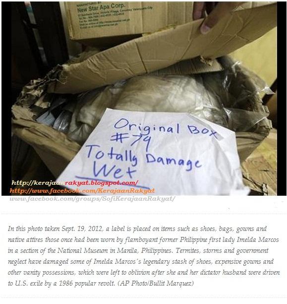Koleksi kasut, barang lain Imelda Marcos rosak dek anai-anai