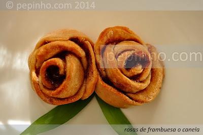 Rosas de ricotta con canela y chocolate