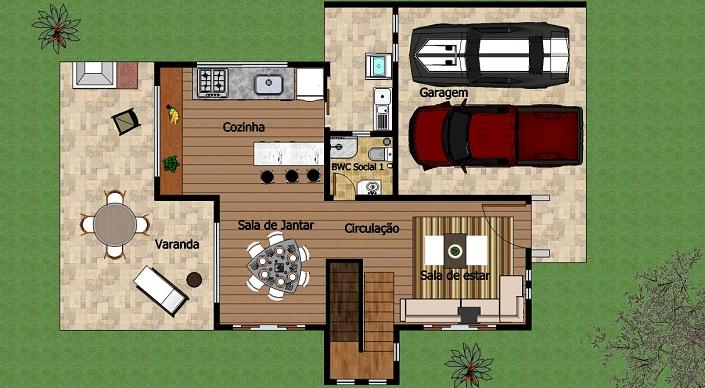 planta de casa 2 andares com 3 quartos
