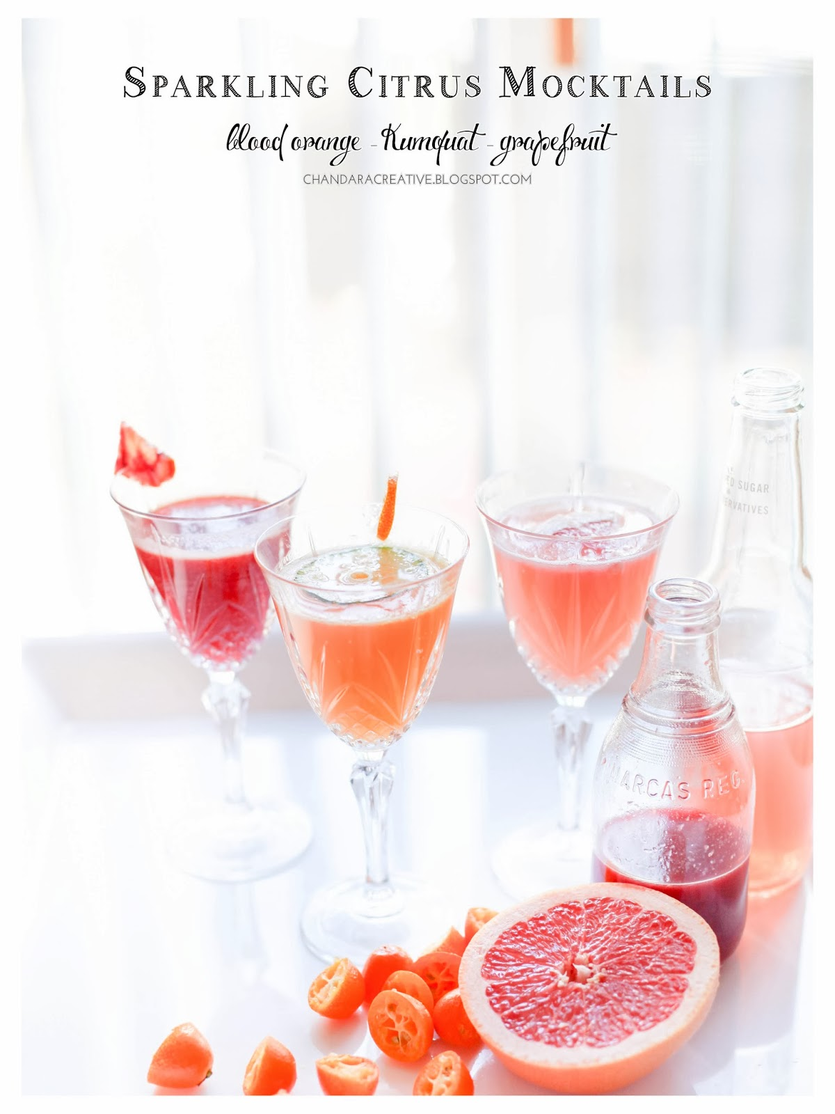 Sparkling Citrus Fizz Mocktails for Valentine's | via Chandara Creative