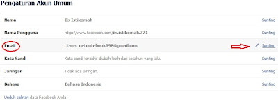 sunting email facebook