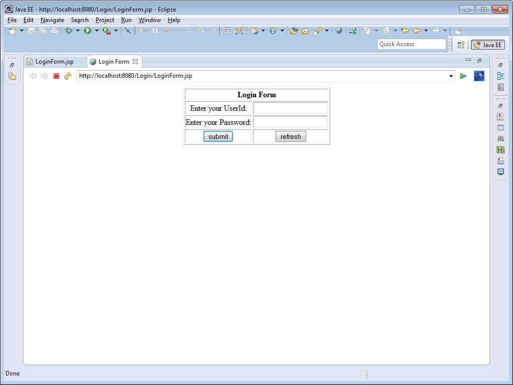 form login code jsp