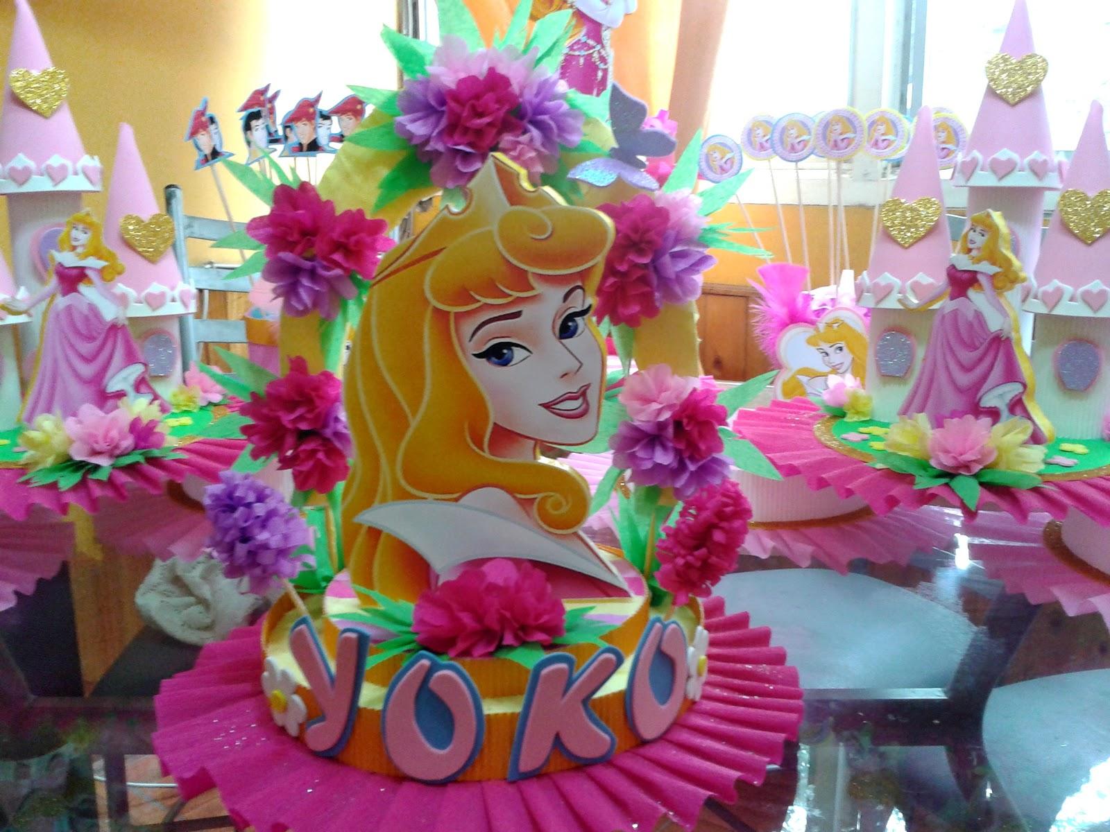 Centro de mesa tema princesa aurora car interior design for Mesas fiestas infantiles