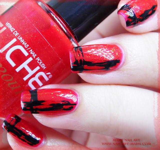 Nail Art Abstrait Rouge et Noir Facile5