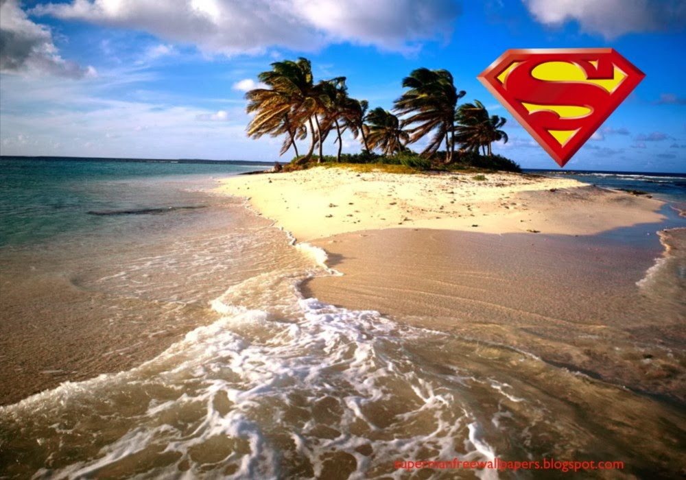 Desktop Wallpaper of Superman Logo at Beautiful Island Desktop wallpaper