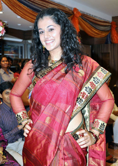 Tapsee - Tapsee in Saree at Saree Shop Launch