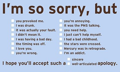 A card saying sorry but listing excuses