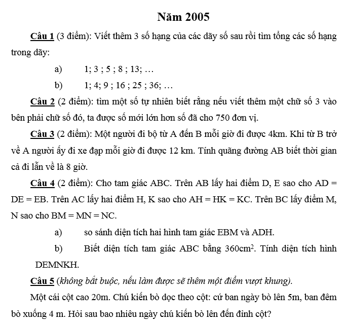 Đáp án đề thi vào lớp 6 môn toán Merie curie năm 2005 - 2006