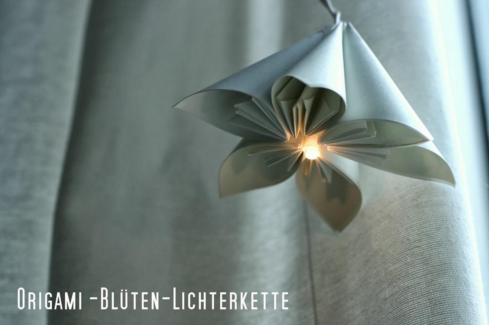vida nullvier lichterkette mit origami bl ten. Black Bedroom Furniture Sets. Home Design Ideas